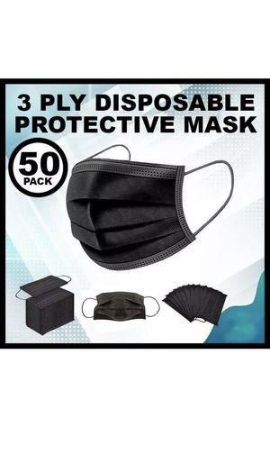 50 PCS BLACK Face Mask Mouth & Nose Protector Respirator Masks for Sale in Fort Lee, NJ