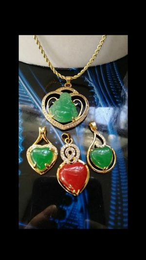 lot 4 green red jade heart pendants gold plated wraped diamond imitation 1pc 14k gold plated rope chain lot for Sale in Richmond, CA
