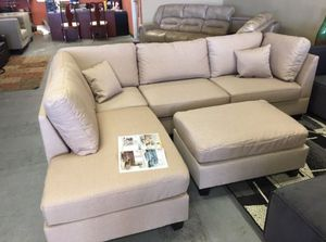 Brand New Tan Linen Sectional Sofa Couch + Ottoman for Sale in Kensington, MD