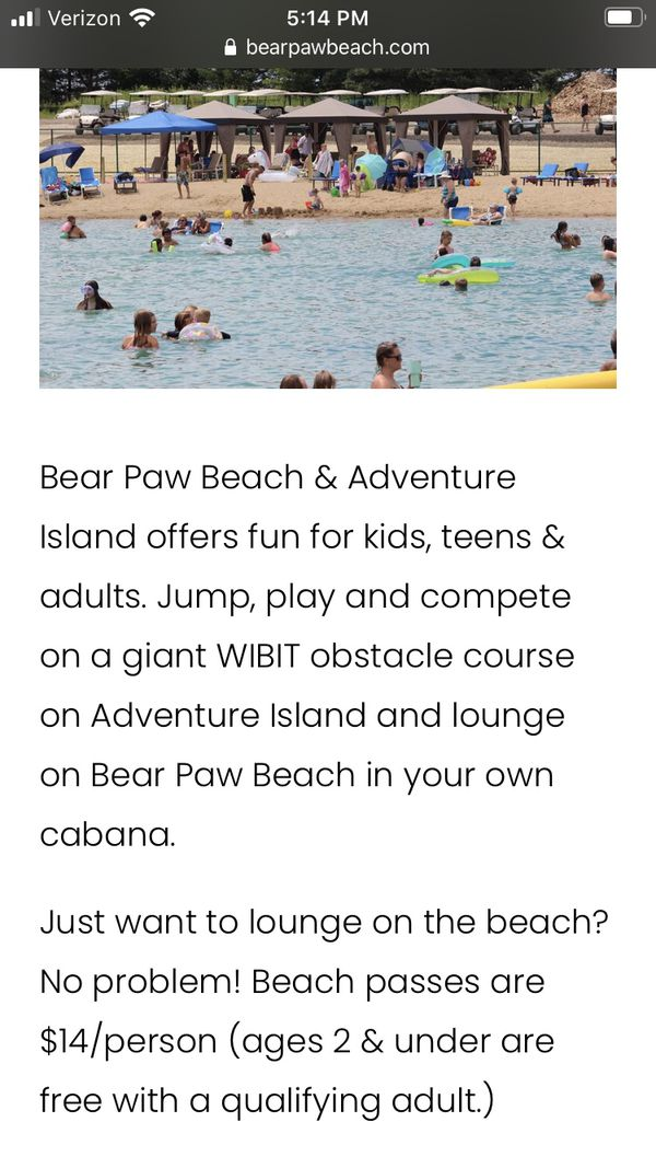 Bear Paw Beach Pass/While It's Warm Out