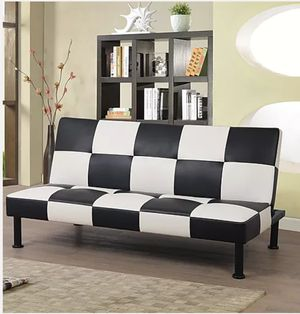 Futon brand new black and white checker pattern in box perfect for man cave or retro decor for Sale in Riverside, CA