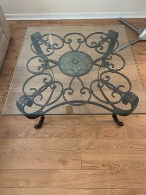 Thick Glass Coffee Table with Dark Brushed Bronze frame. for Sale in NEW PRT RCHY, FL