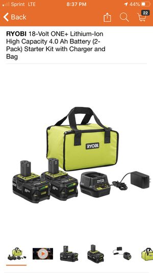 RYOBI 18-Volt ONE+ Lithium-Ion High Capacity 4.0 Ah Battery (2-Pack) Starter Kit with Charger and Bag for Sale in Pomona, CA