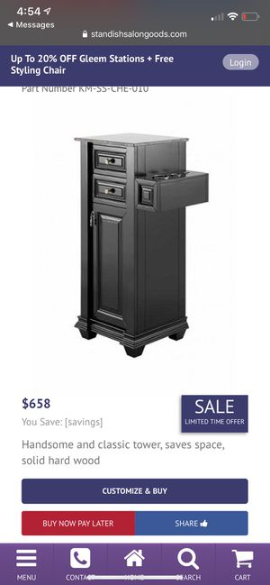 Classic Tower in Black w/Marble Granite Top for Sale in Houston, TX