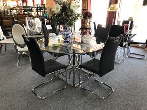 Contemporary chrome finish glass top 5 piece dining table set for Sale in Irving, TX