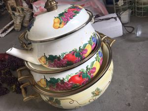 Beautiful 3 pieces cookware with brass Handels for Sale in Ashburn, VA