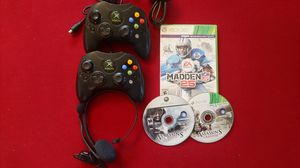 Xbox 360: 2 Xbox Controllers, 3 Games and 360 Headset. for Sale in Hesperia, CA