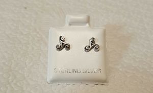 Genuine .28 Inch .925 Solid Sterling Silver Celtic Triskelion Earrings. for Sale in Pawtucket, RI