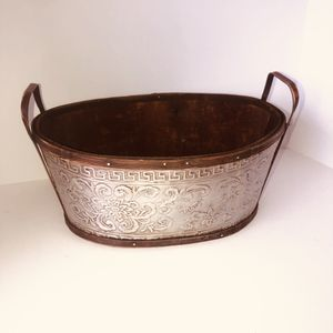 "Large wooden/silver tin bucket/basket with handles 12""x9""x5"" for Sale in Saint Albans, WV"