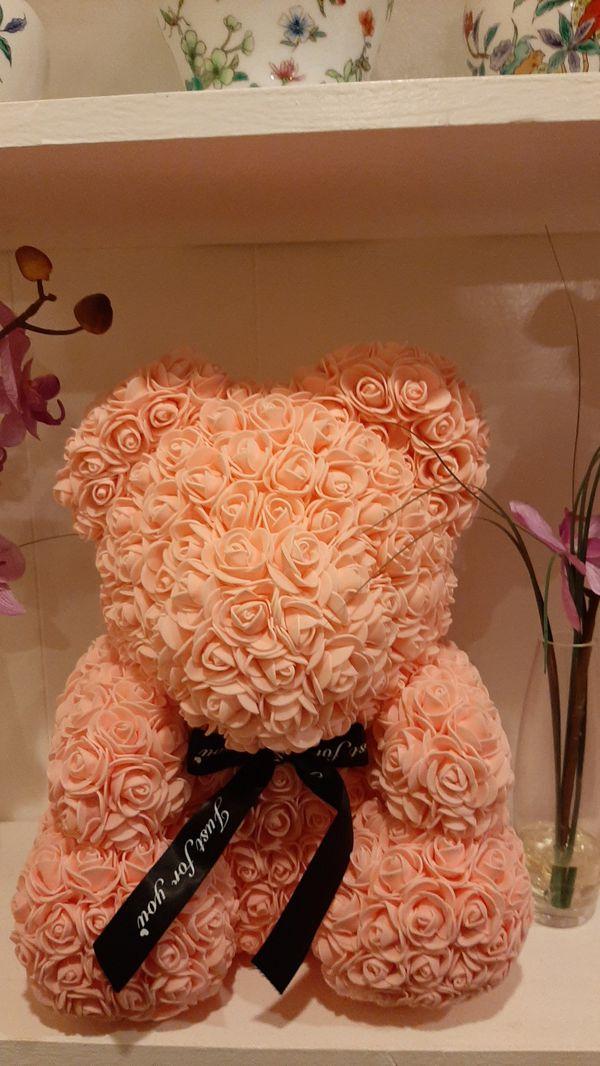 Foam pink rose teddy bear