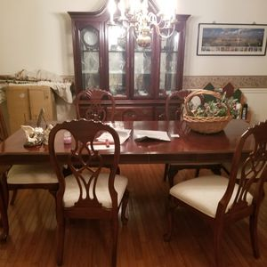 Hardwood Extendable Table With Eight Chairs for Sale in Centreville, VA