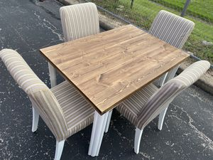 Wood Table with Ikea Henriksdal Chairs for Sale in Austin, TX