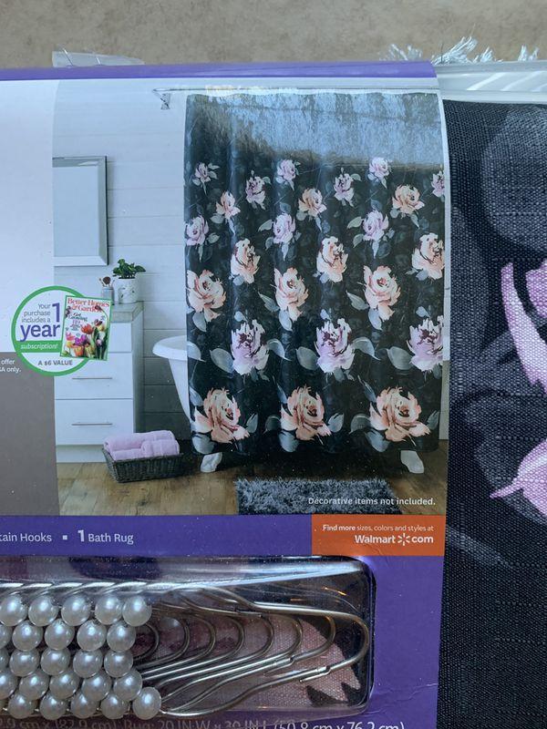 Floral Shower Curtain/Rug Set