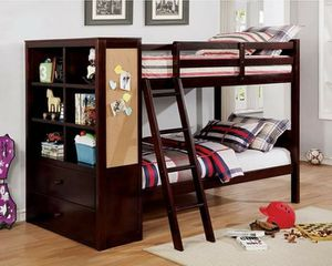 DARK WALNUT FINISH TWIN OVER TWIN SIZE BUNK BED ALL IN ONE DRAWERS STORAGE BOOKCASE for Sale in Riverside, CA