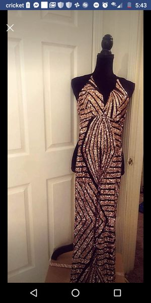 Gold and black sequins after 5 dress or prom for Sale in Kansas City, MO