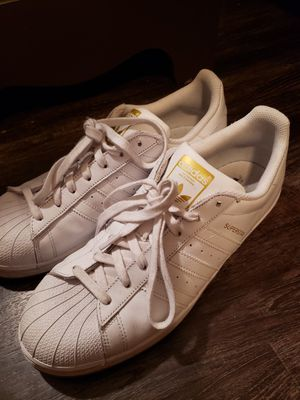 Adidas white superstar gum sole 10.5 for Sale in Portland, OR