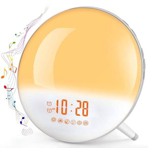 Sunrise Alarm Clock, Te-Rich Wake Up Light with FM Radio/Dual Alarm/7 Nature Sounds & Light Colors/Snooze/20 Brightness, Sleep Aid Lamp Dawn Simulato for Sale in Upland, CA
