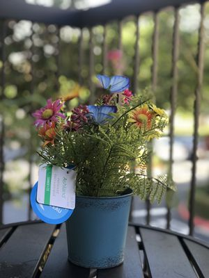Ashland blue galvanized tin pot flowers 💐 & butterflies 🦋 for Sale in Irvine, CA
