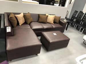 Espresso sectional sofa couch living room set for Sale in Hialeah, FL