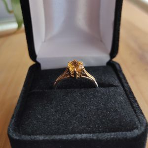 14k gold over silver natural. 50ctw citrine ring. Vintage filigree engagement / promise ring for Sale in Sheridan, CO