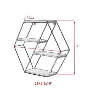 HEXAGON wall shelf unit decorative shelves 4 tier for Sale in Rosemead, CA