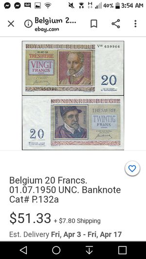 20 vingt francs bill for Sale in Spokane, WA