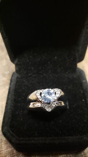 Silver heart ring white topaz for Sale in Farmville, VA