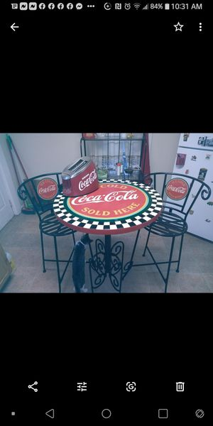 Three-piece antique Coca-Cola table & stools w/ toaster for Sale in Columbus, OH