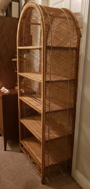 1970s Vintage Arched Rattan Etagere for Sale in Flower Mound, TX