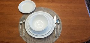 Corelle Dinnerware for 10 with silverware for Sale in Riverdale, IA