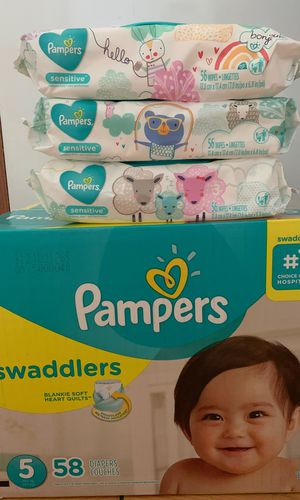 Pampers Swaddlers size 5 with 58 diapers and 3 wipes for $25 for Sale in Houston, TX