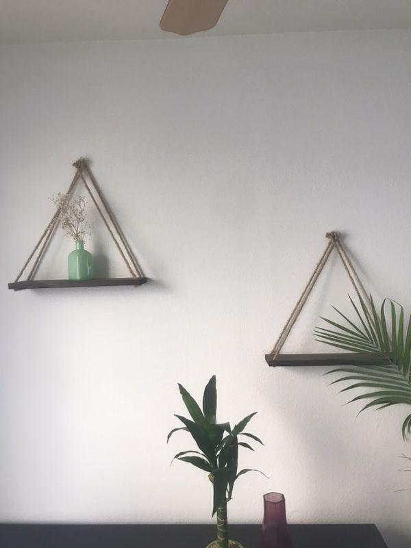 Beautiful wooden hanging wall shelves