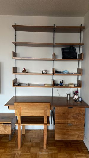 Hanging bookshelf with desk and TV stand set for Sale in New York, NY