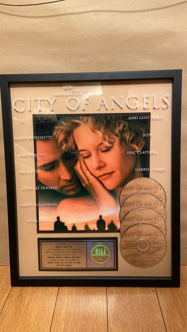 """City of Angels""RIAA Framed Award WARNER BROS. Records Cassette & CD"