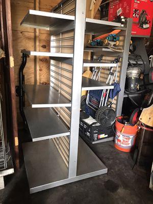 Metal Display Shelf Adjustable Heavy Duty Shelves Rolling on Wheels for Sale in Mount Dora, FL