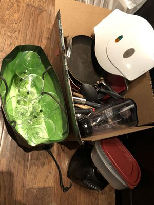 Kitchen appliances, including wine glasses, blender and pizza maker for Sale in Dallas, TX