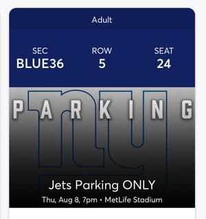 NY GIANTS VS NEW YORK JETS PARKING PASS for Sale in Howell, NJ