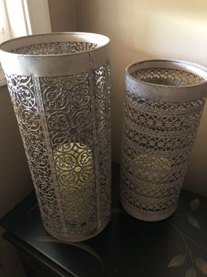 Pair of metal distressed candle holders for Sale in CORNWALL Borough, PA