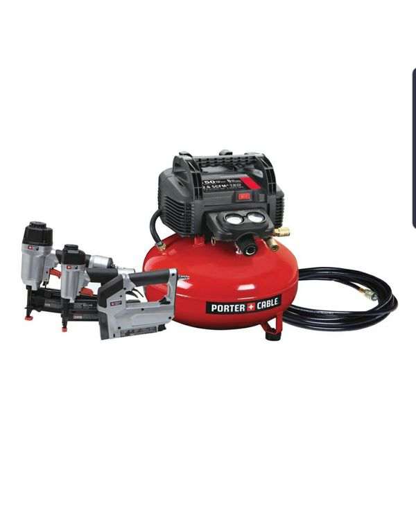 Porter-Cable 6 Gal. 150 PSI Portable Electric Air Compressor, 16-Gauge Nailer, 18-Gauge Nailer and 3/8 in. Stapler Combo Kit (3-Tool)