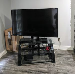 TV stand - black metal frame with glass shelves for Sale in Amissville, VA