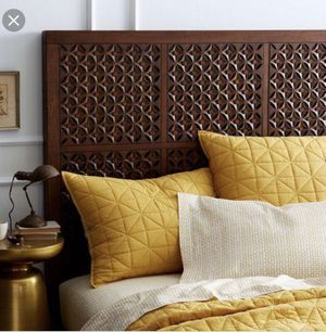 West Elm Full Carved Headboard and Modern Bed Frame for Sale in Washington, DC