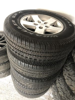 Jeep Wrangler wheels/Tires (5) Like new for Sale in Tampa, FL
