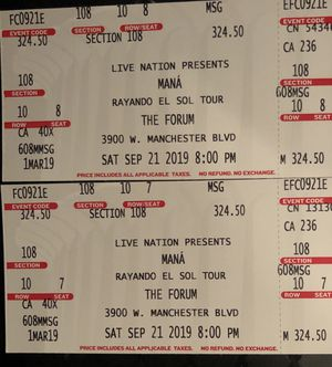 Mana - 2 Tickets at The Forum 9-21-19 for Sale in Baldwin Park, CA