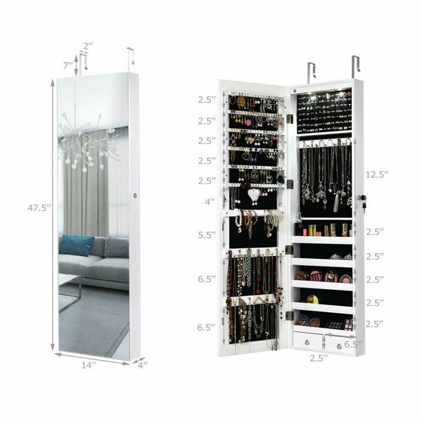 Wall And Door Mounted Mirrored Jewelry Cabinet With Lights-White