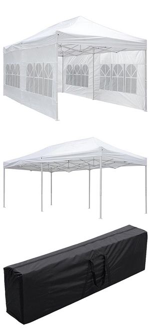 (NEW) $190 Heavy-Duty 10x20 Ft Outdoor Ez Pop Up Party Tent Patio Canopy w/Bag & 6 Sidewalls, White for Sale in Whittier, CA