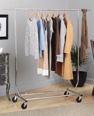 New in box 51x22x71 inches tall heavy duty commercial grade metal clothes clothing display organizer stand hanging garment rack in polished finished for Sale in Los Angeles, CA