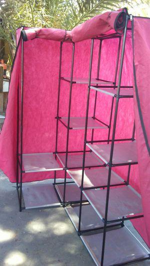 Karmas Portable Non-Woven Fabric Corner Wardrobe Closet Double Rod Garment Rack Organizer for Sale in Rialto, CA