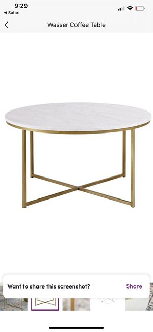 Wayfair white marble coffee table for Sale in Pasadena, CA