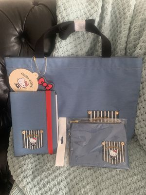 Hello Kitty Denim Tote Bag, Flat Pouch and Notebook for Sale in Belleair, FL