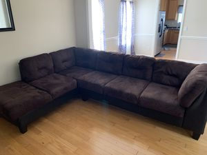 Brown and black sectional couch for Sale in Indian Trail, NC